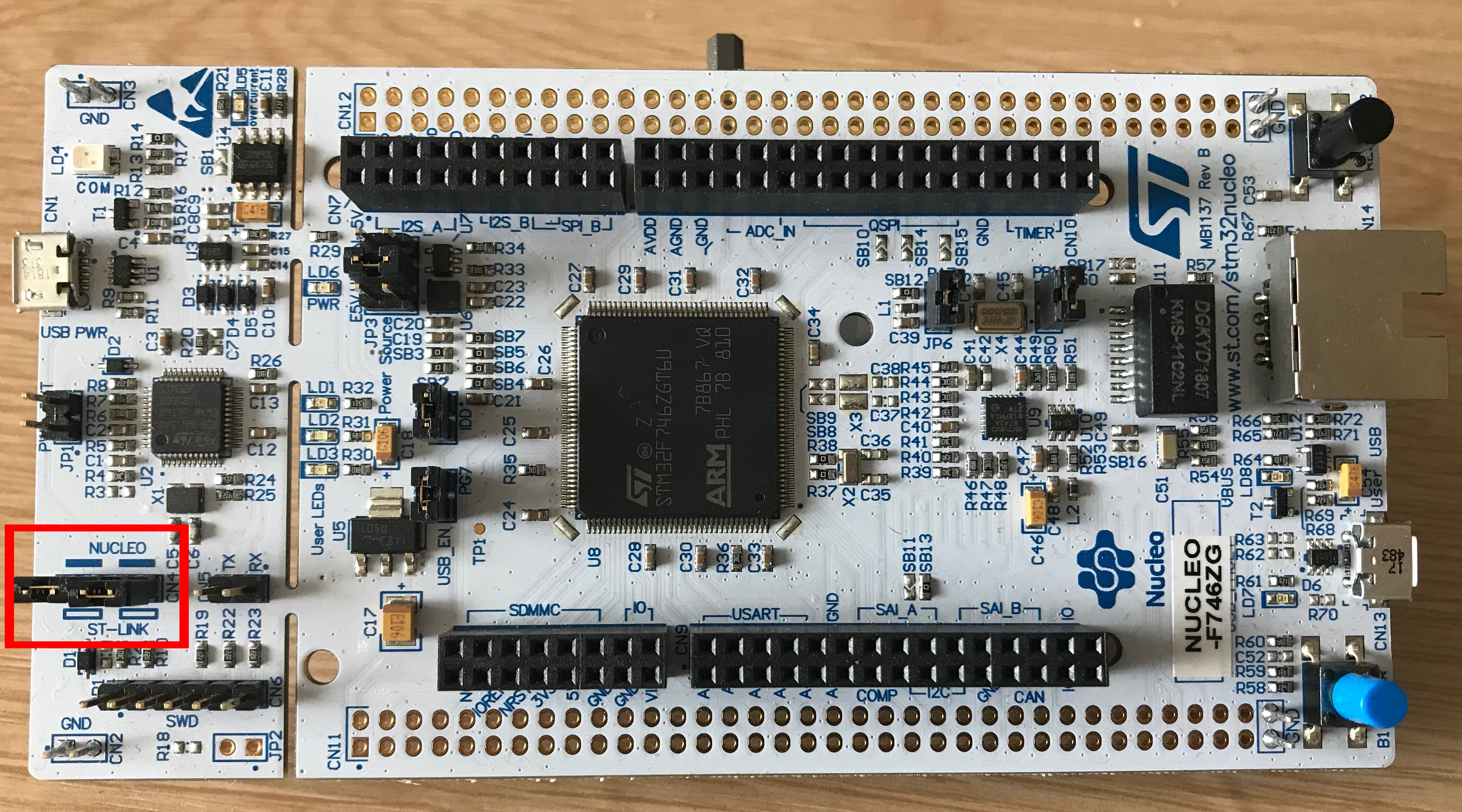 Photo of Nucleo-F746ZG development board with ST-LINK header outlined