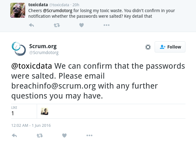 Scrum.org Twitter reply confirming salted passwords