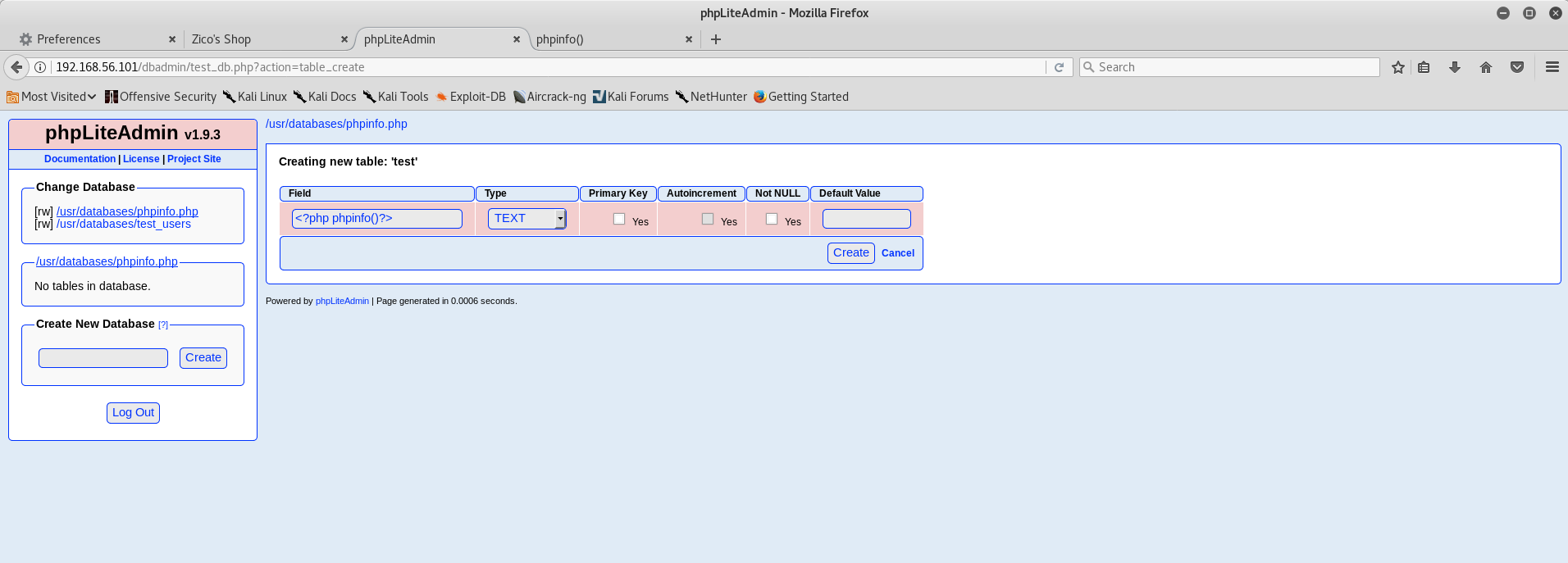 phpLiteAdmin PHP Remote Code Injection 2