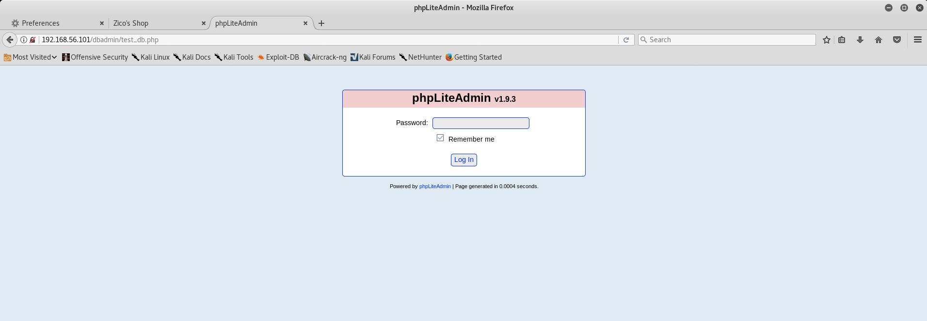 phpLiteAdmin Login page